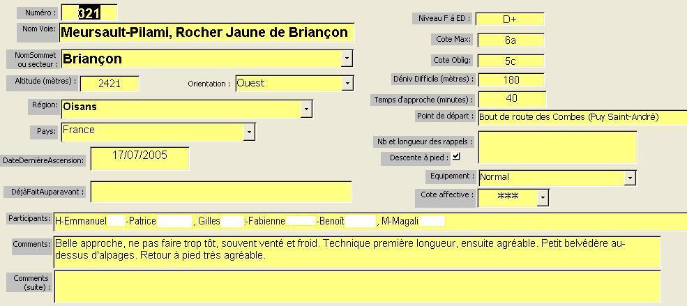 Voie Meursault-Pilami, Rocher Jaune de Briançon