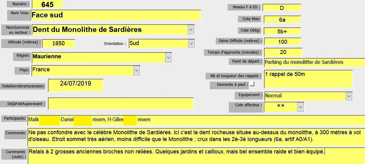 Dent du monolithe de Sardieres, face sud, Maurienne