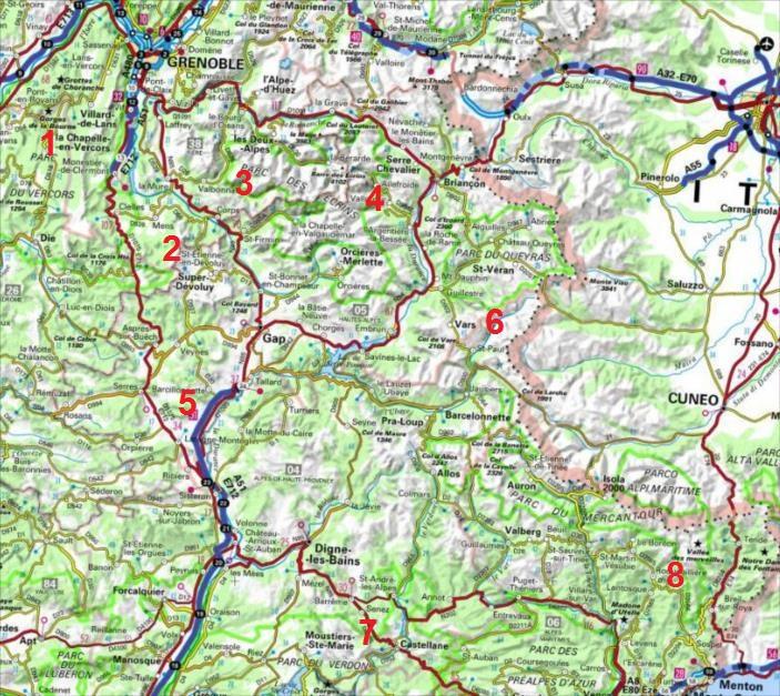 Grandes voies d`escalade dans les Alpes du sud