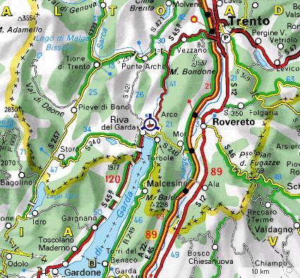 Carte autour d`Arco et du Lac de Garde