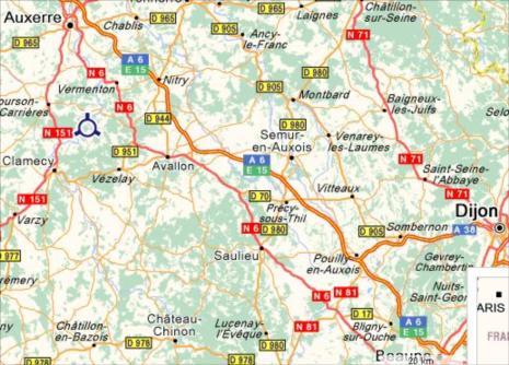 Carte de Bourgogne et Yonne