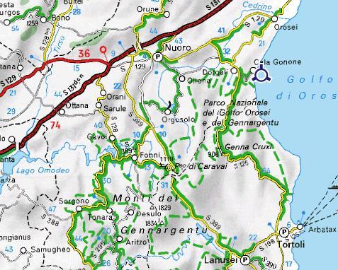 Carte autour de Cala Gonone