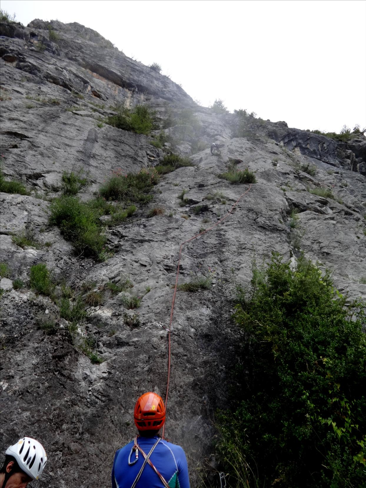 Roc de Calamès, voie `Pour Lubeline`, attaque, Ariège