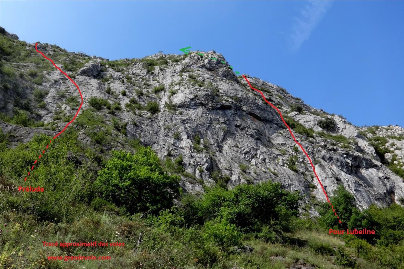 Roc de Calamès, voies `Pour Lubeline` et `Prélude`, Ariège