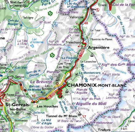 Carte du massif de Chamonix