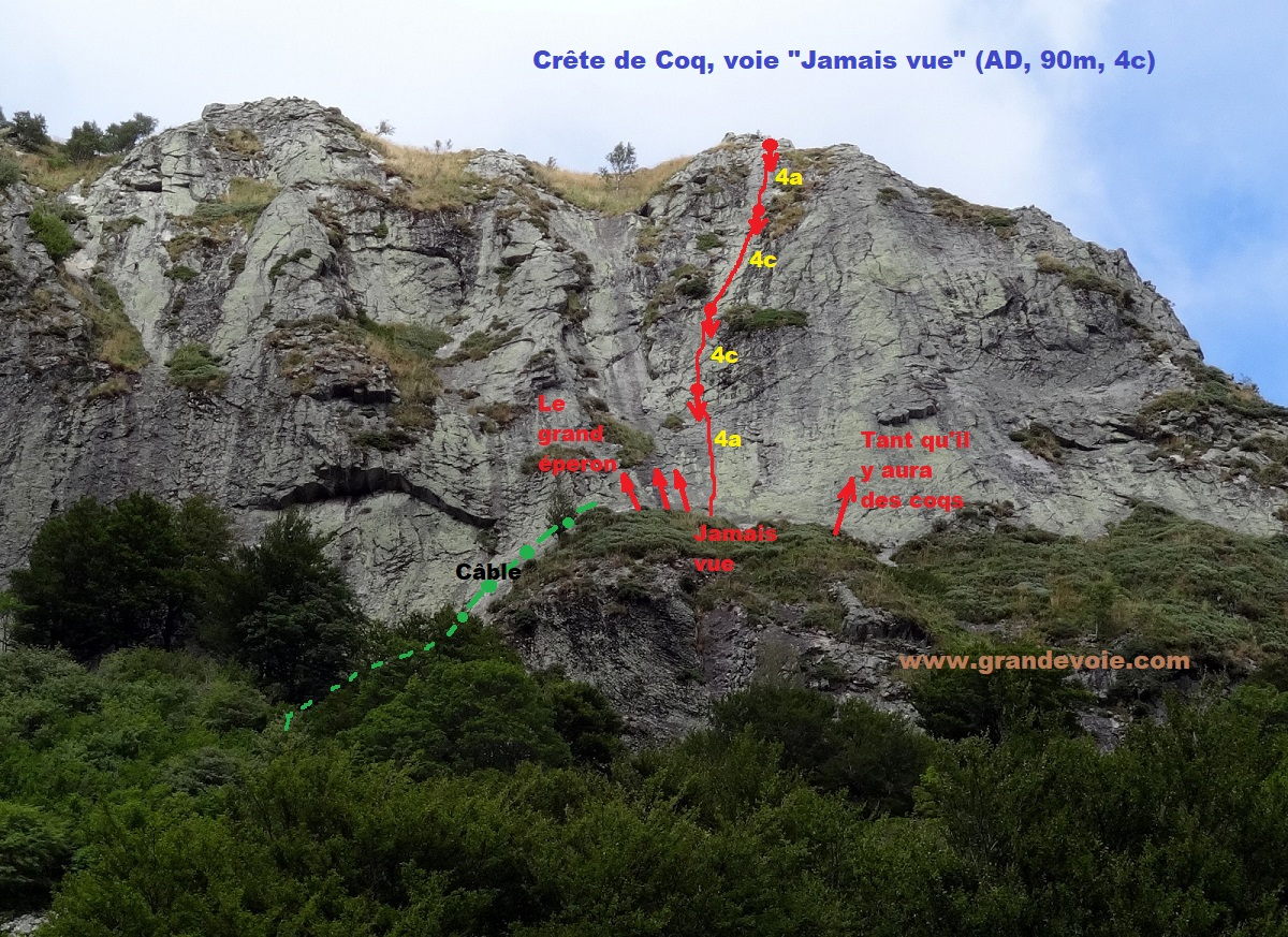 Crête de Coq, voie `Jamais vue`, vallée de Chaudefour, Auvergne
