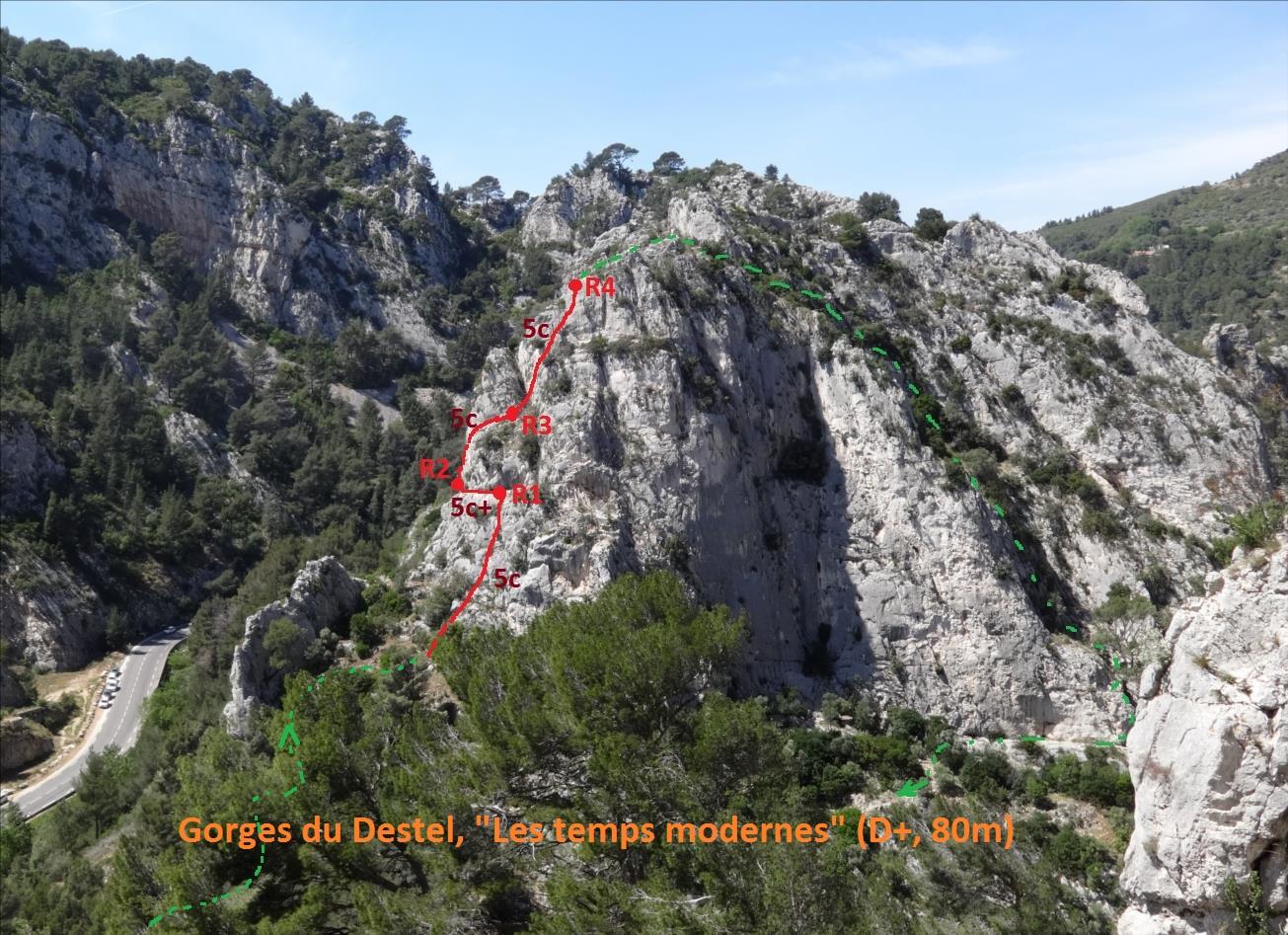 Voie Les termps modernes, Gorges du Destel, Provence