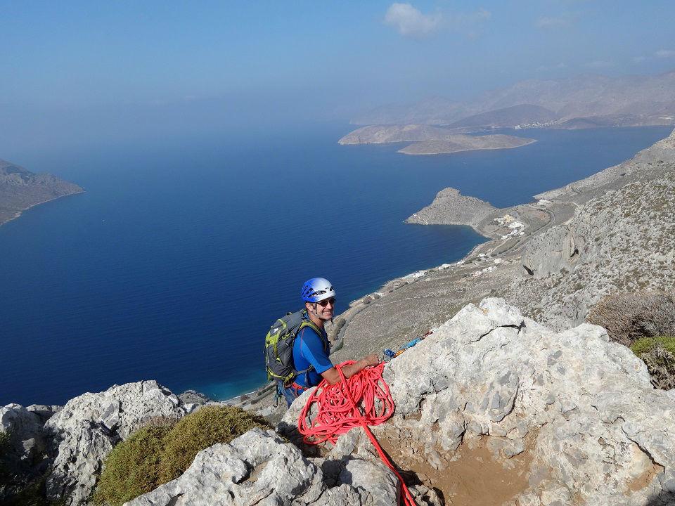 Ile de Kalymnos, voie `3 Stripes` du secteur Spartacus, Grèce