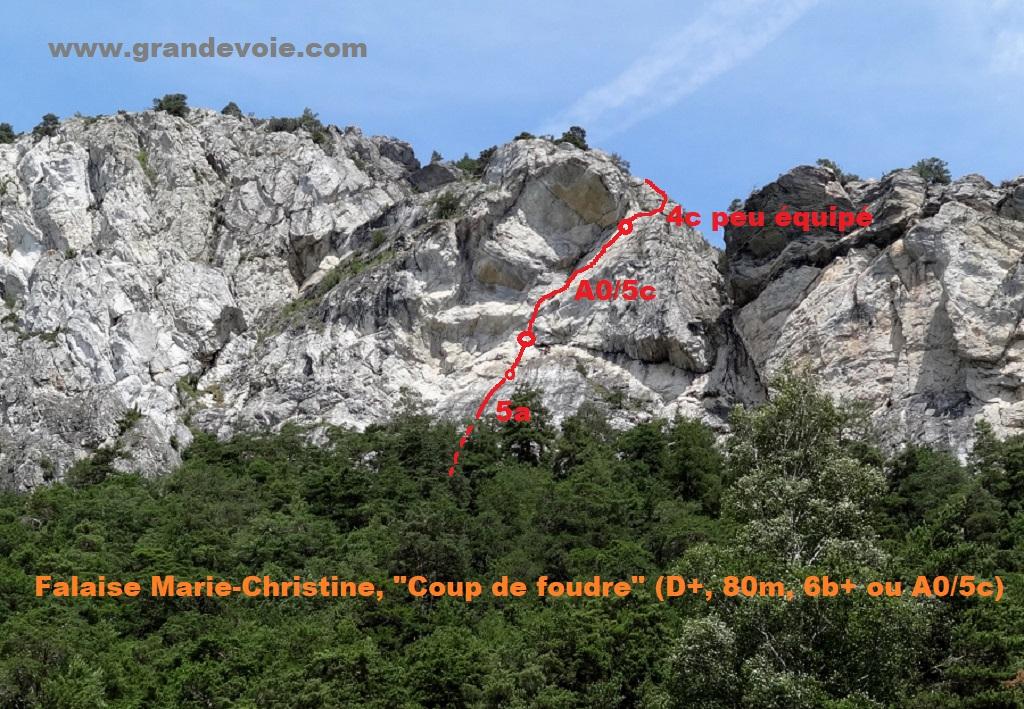 Falaise Marie-Christine, voie `Coup de foudre`, Maurienne