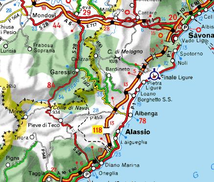 Carte autour de Finale Ligure