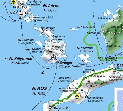 Carte de Kalymnos et Telendos