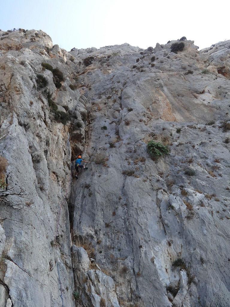 Kalymnos, Trois Ilots, voie `Les copains d`abord`