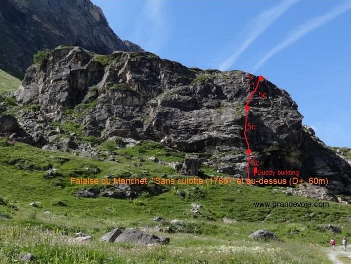 Falaise du Manchet, voie `Sans culotte (1789) et au-dessus`, Val d`Isère
