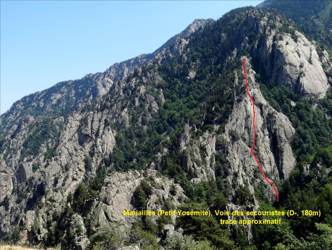 Roc de Mariailles, Voie des secouristes, Pyrénées Orientales