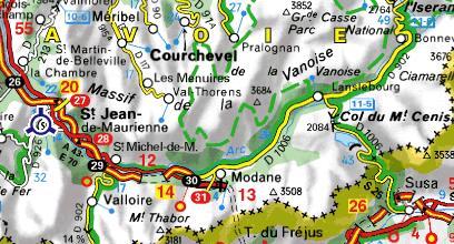 Carte de la Haute-Maurienne