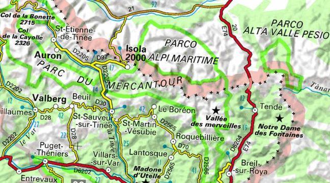 Grandes voies d`escalade dans le Mercantour