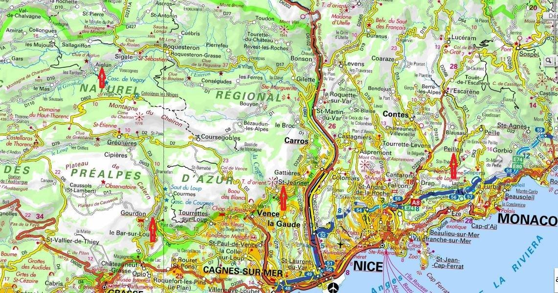 Grandes voies d`escalade autour de Nice