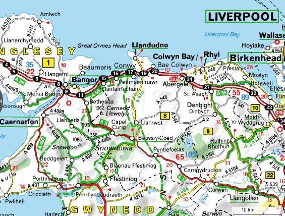 Carte du nord du Pays de Galles