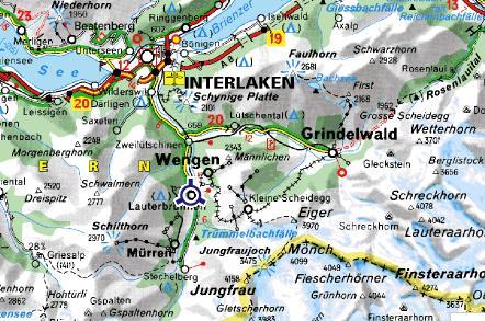 Carte de l`Oberland (Suisse)