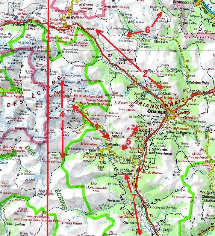 Oisans, partie Est, grandes voies d`escalade