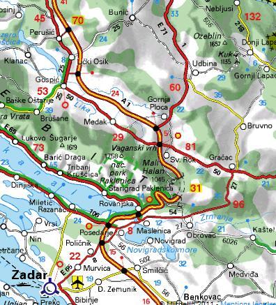 Carte autour de Paklenica en Croatie