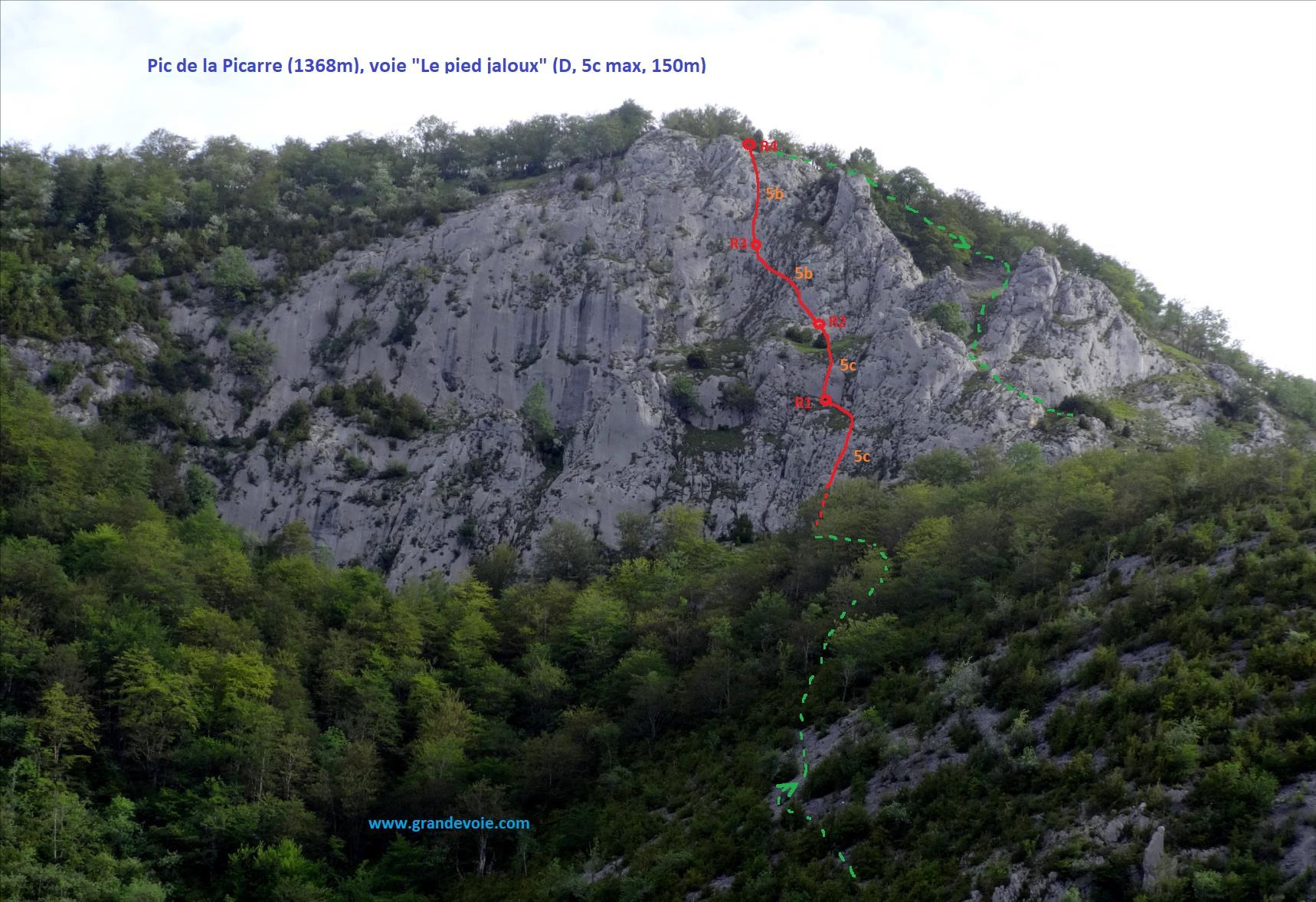 Pic de la Picarre, voie `Le pied jaloux`, Pyrénées centrales