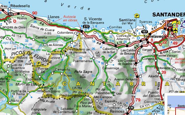 Carte des Pics d`Europe en Espagne