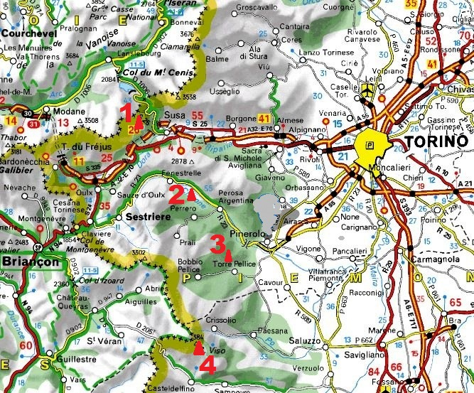 Grandes voies d`escalade dans le Piémont occidental