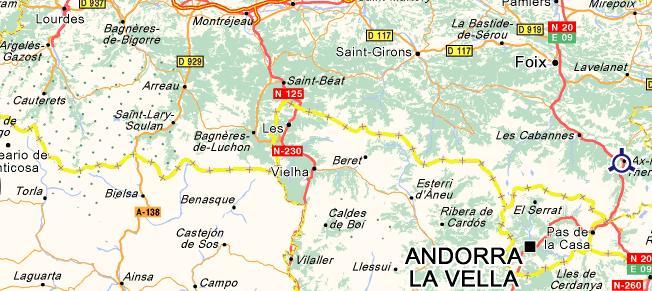 Carte des Pyrénées Centrales
