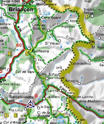Carte du Queyras et de l`Ubaye