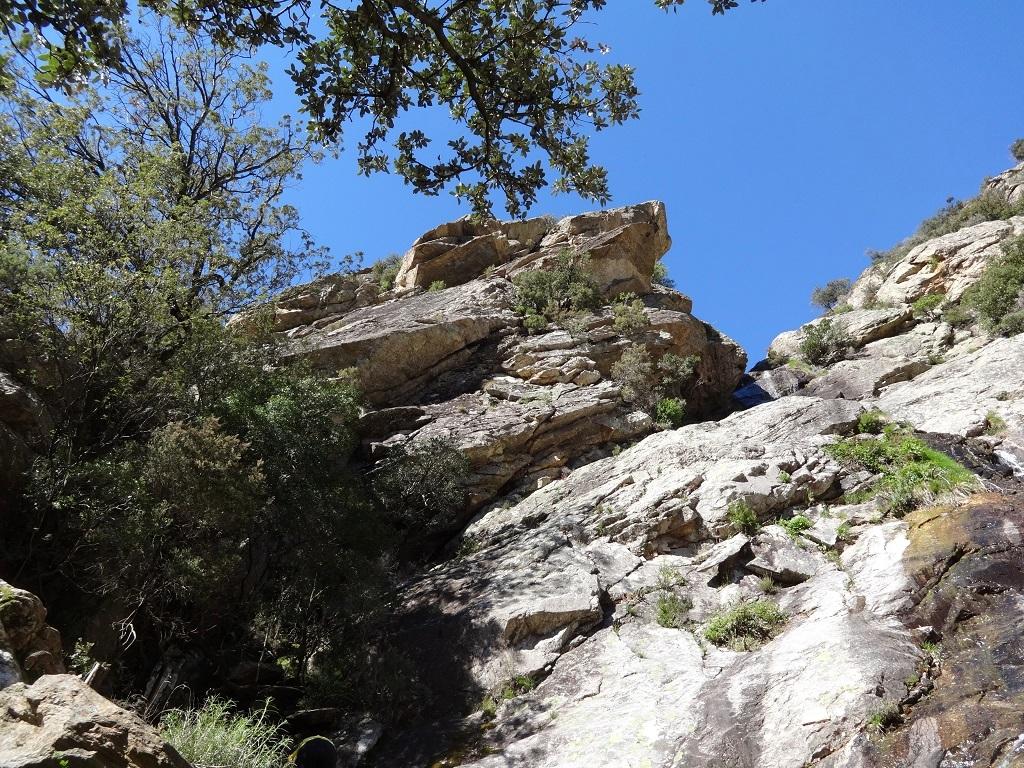 Rocher de la cascade, voie `Athlète de Braque`, longueur L1, Caroux