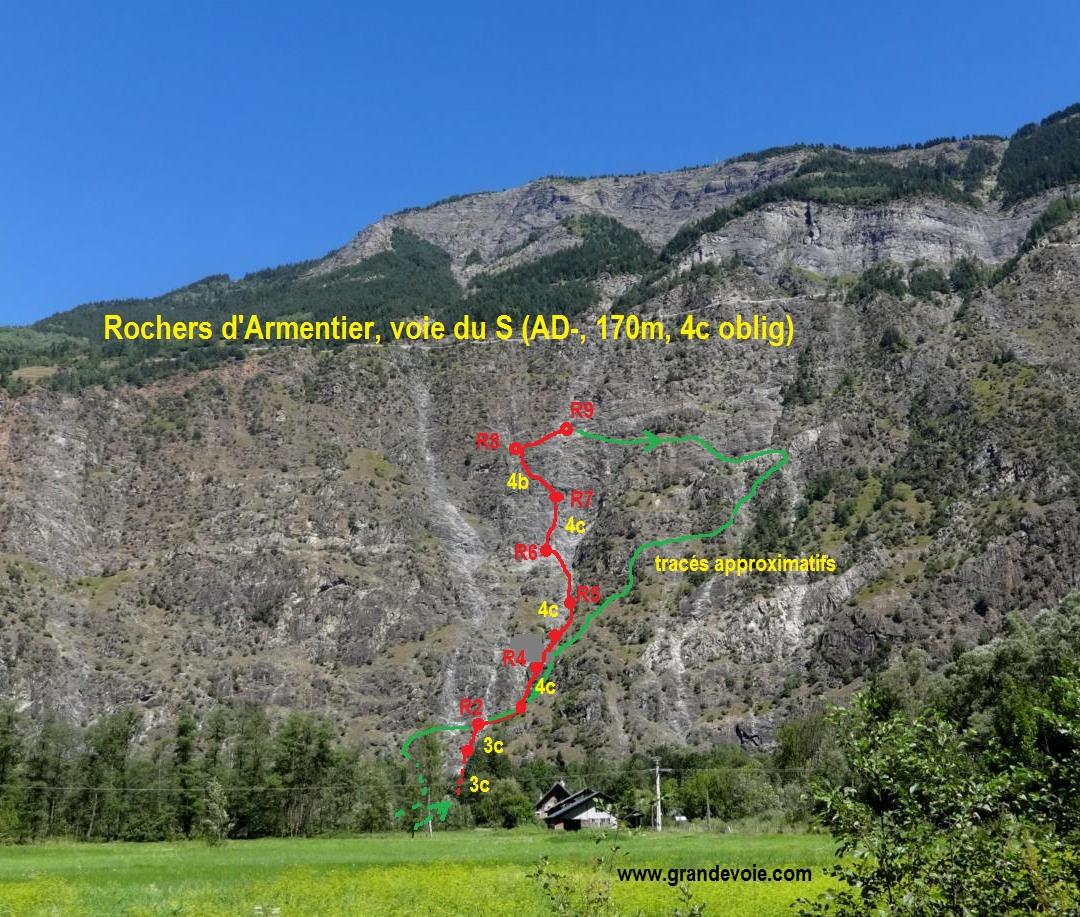 Rochers d`Armentier, voie du S, Oisans