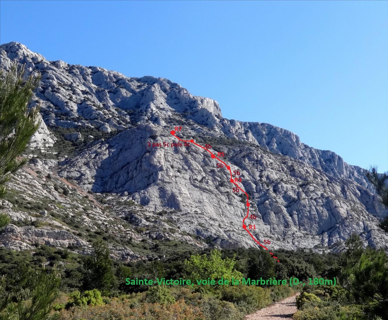 Voie de la marbrière, montagne Sainte-Victoire, Provence