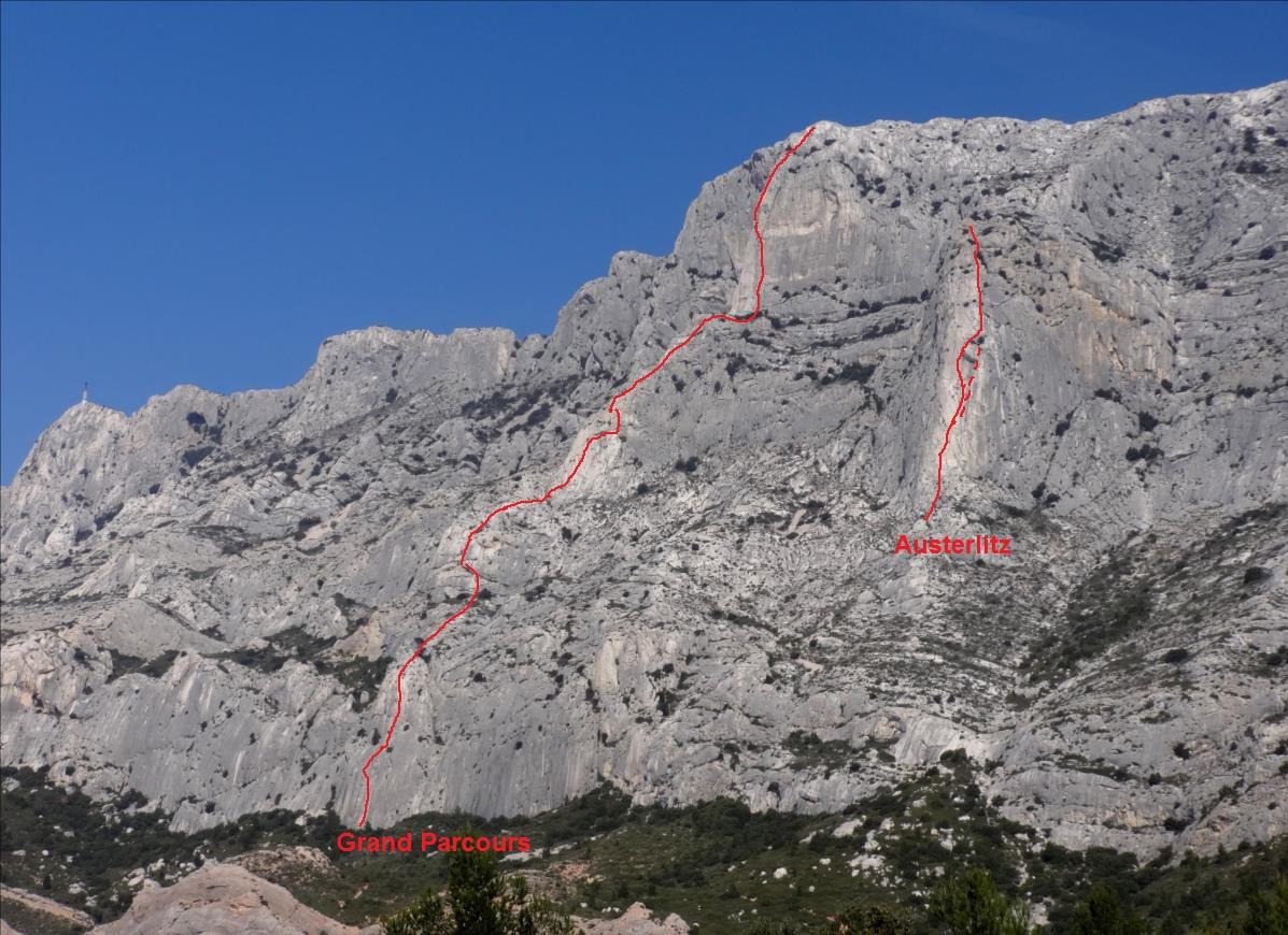 Grand Parcours et Austerlitz, escalade à la Sainte-Victoire, Provence
