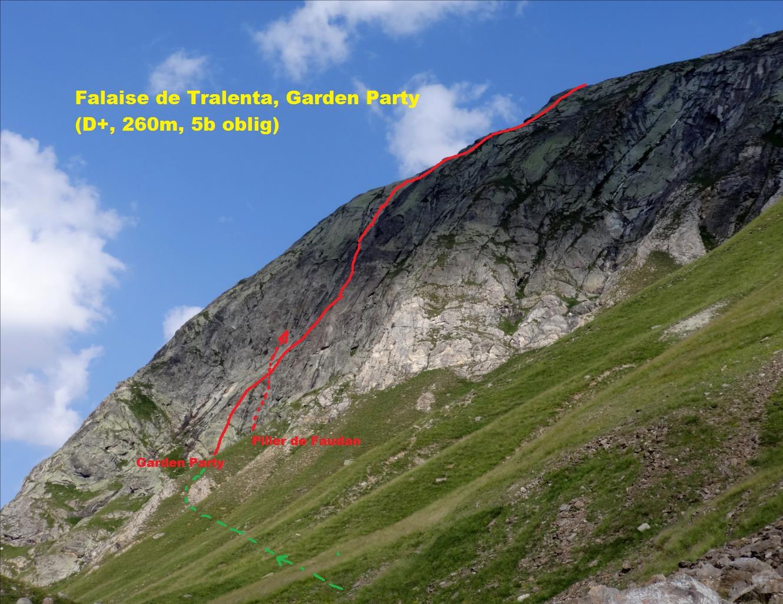 Falaise de Tralenta, voie Garden Party, Maurienne