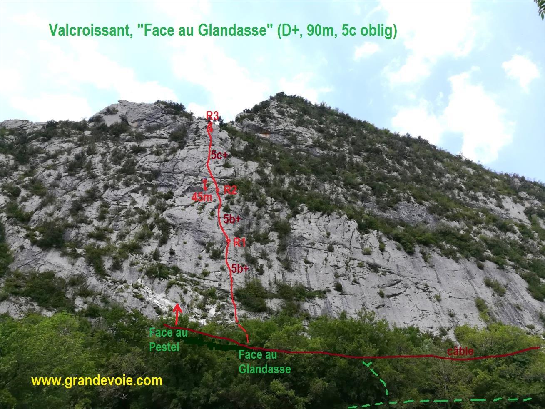 Valcroissant, voie `Face au Glandasse`, Diois